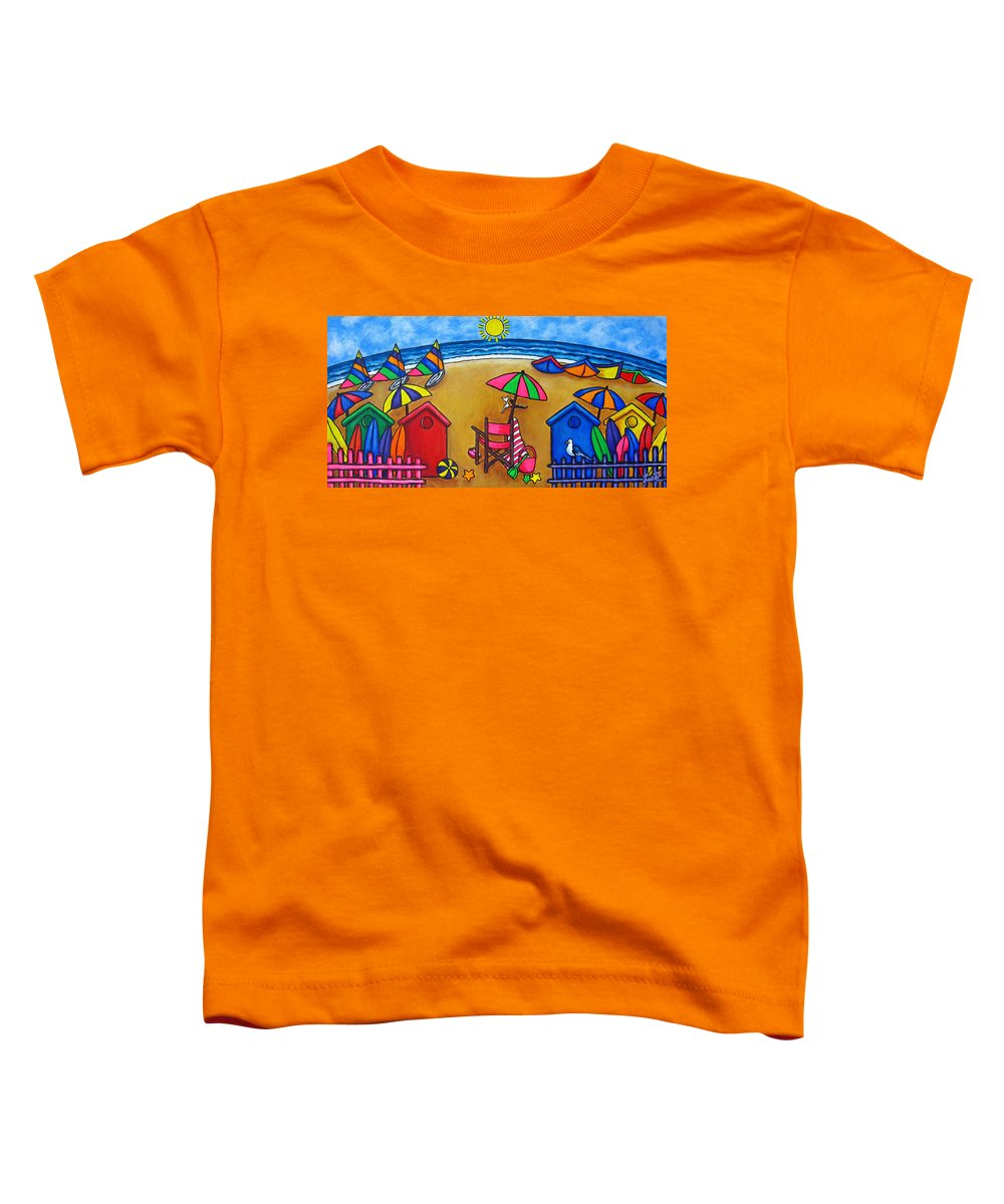 Beach Toddler T-Shirt featuring the painting Beach Colours by Lisa Lorenz