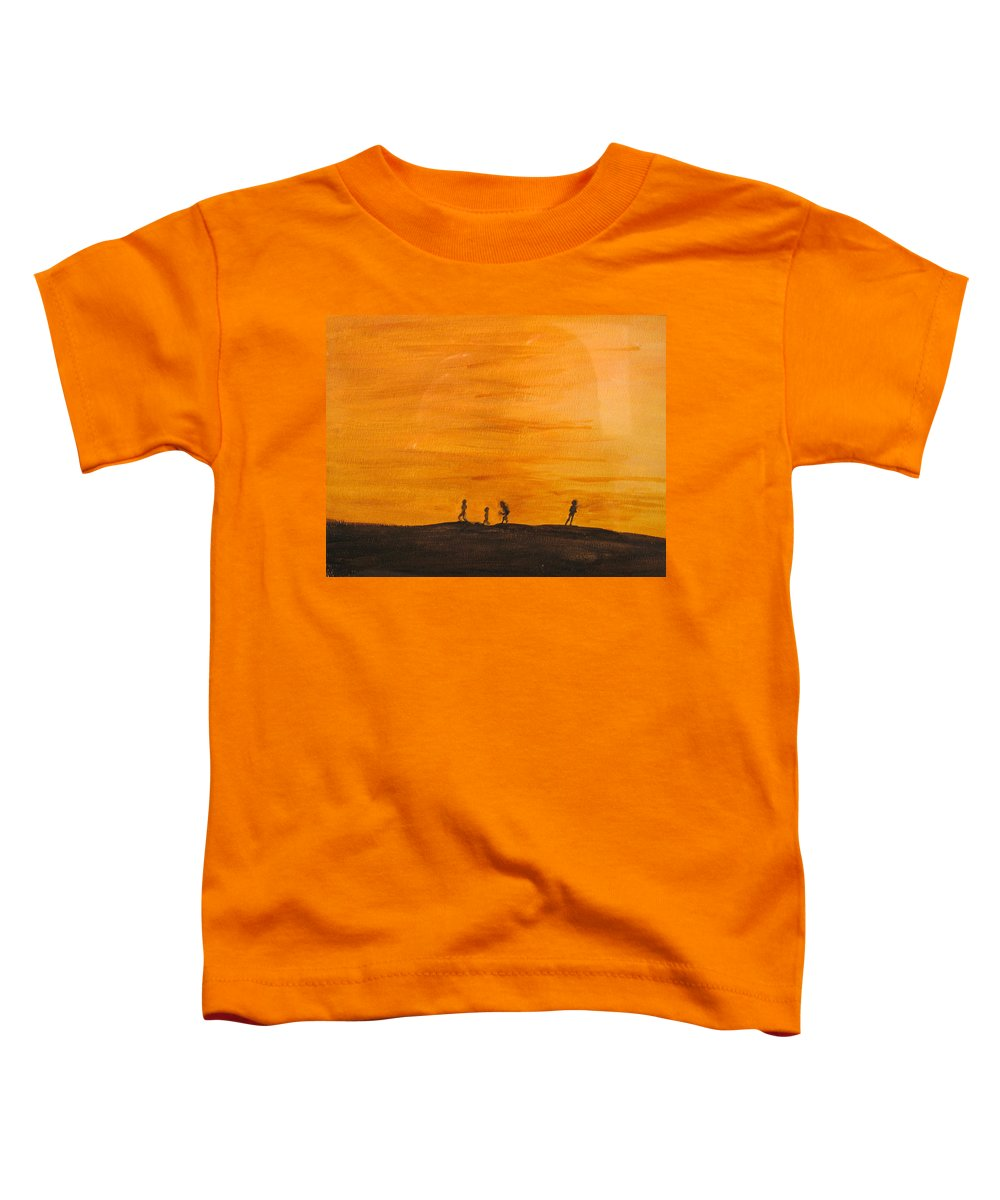 Boys Toddler T-Shirt featuring the painting Boys At Sunset by Ian MacDonald
