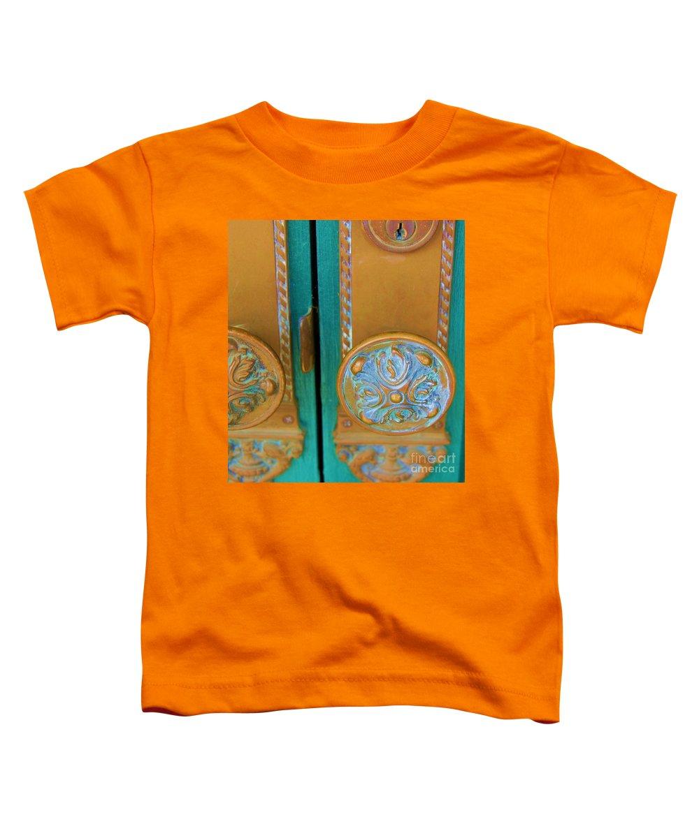 Door Toddler T-Shirt featuring the photograph Brass Is Green by Debbi Granruth