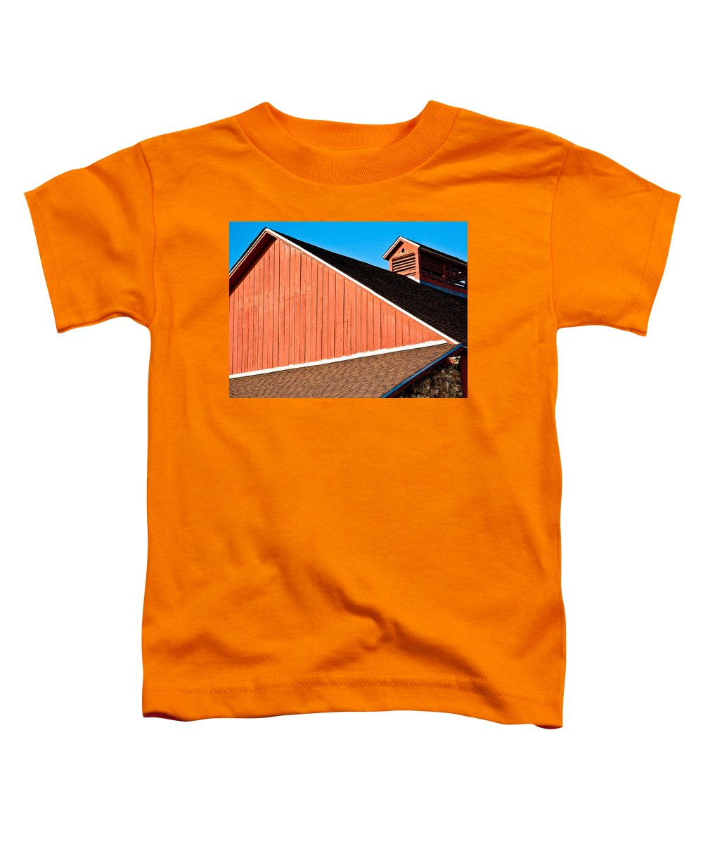 Americana Toddler T-Shirt featuring the photograph Bright Red Barn by Marilyn Hunt