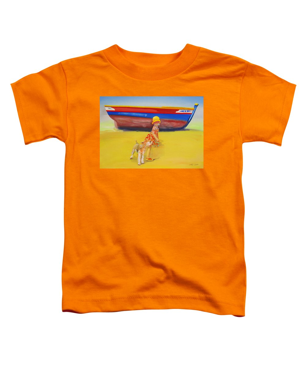 Wire Haired Fox Terrier Toddler T-Shirt featuring the painting Brightly Painted Wooden Boats With Terrier And Friend by Charles Stuart