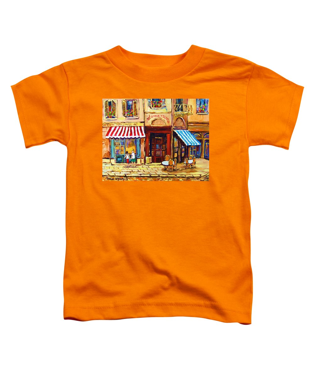 Old Montreal Outdoor Cafe City Scenes Toddler T-Shirt featuring the painting Cafe De Vieux Montreal With Couple by Carole Spandau
