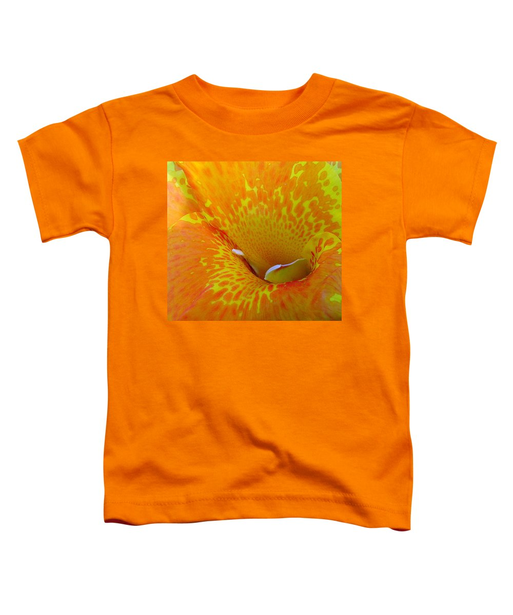 Orange Yellow Flower Toddler T-Shirt featuring the photograph Canna by Luciana Seymour