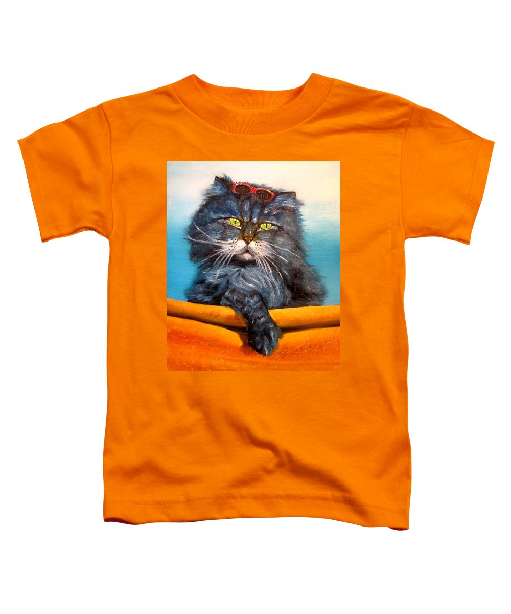 Cat Toddler T-Shirt featuring the painting Cat.go To Swim.original Oil Painting by Natalja Picugina