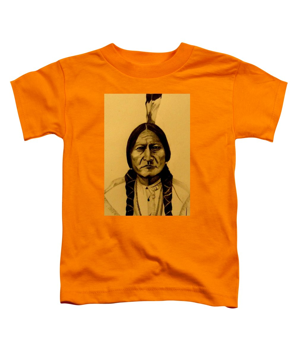 Portrait Toddler T-Shirt featuring the drawing Chief Sitting Bull Tatanka Iyotake by Michelle Dallocchio