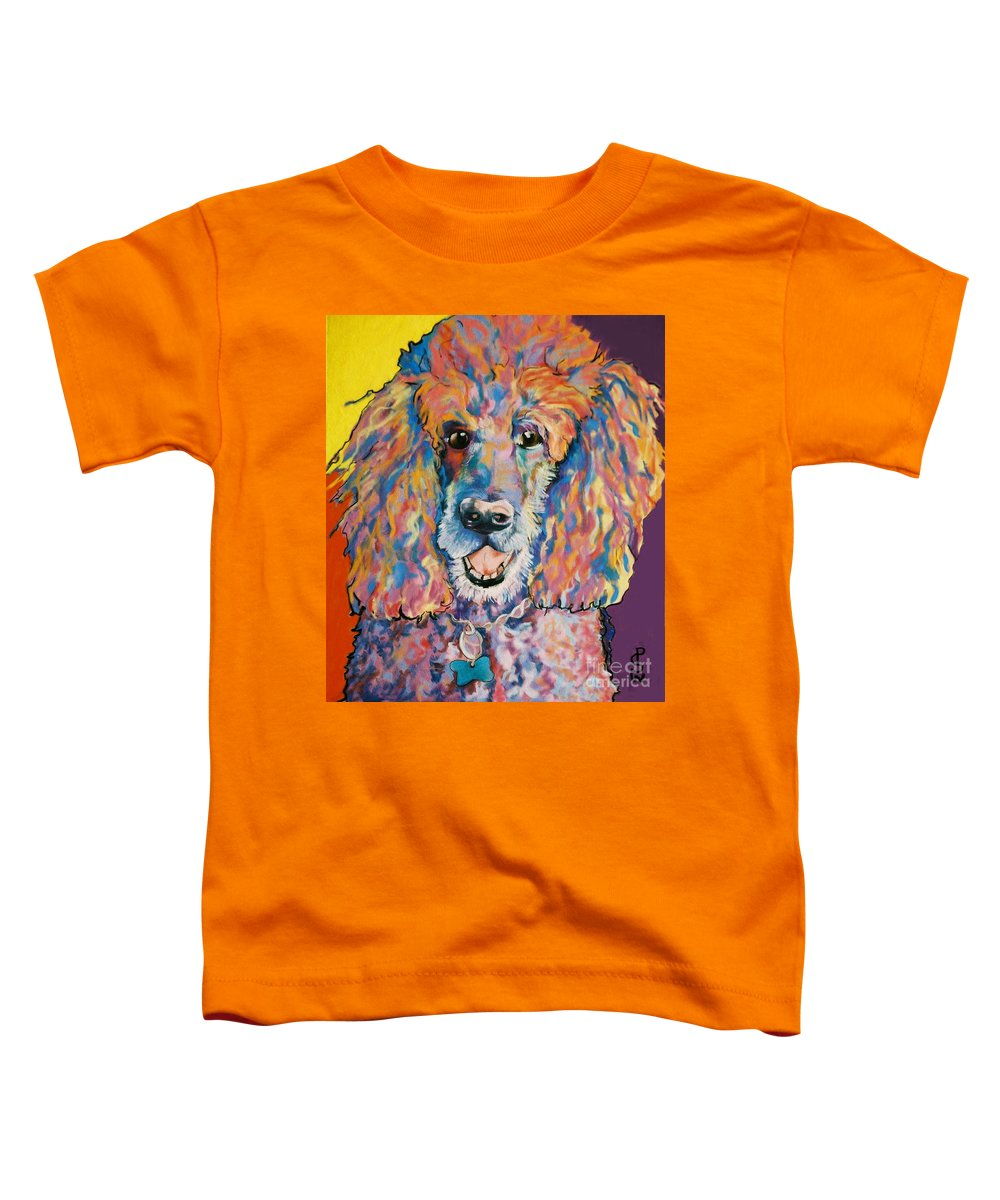 Standard Poodle Toddler T-Shirt featuring the painting Cole by Pat Saunders-White