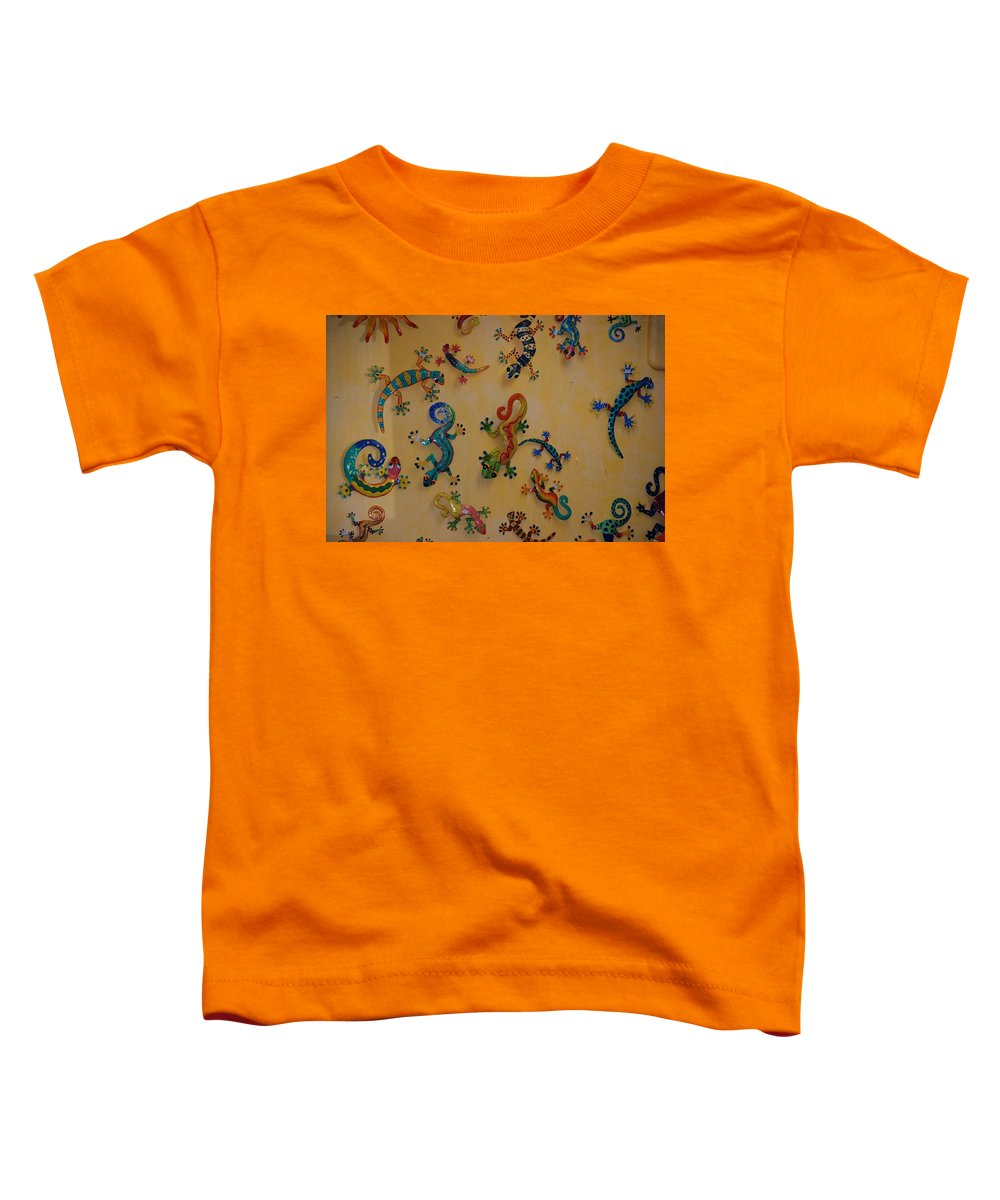 Pop Art Toddler T-Shirt featuring the photograph Color Lizards On The Wall by Rob Hans