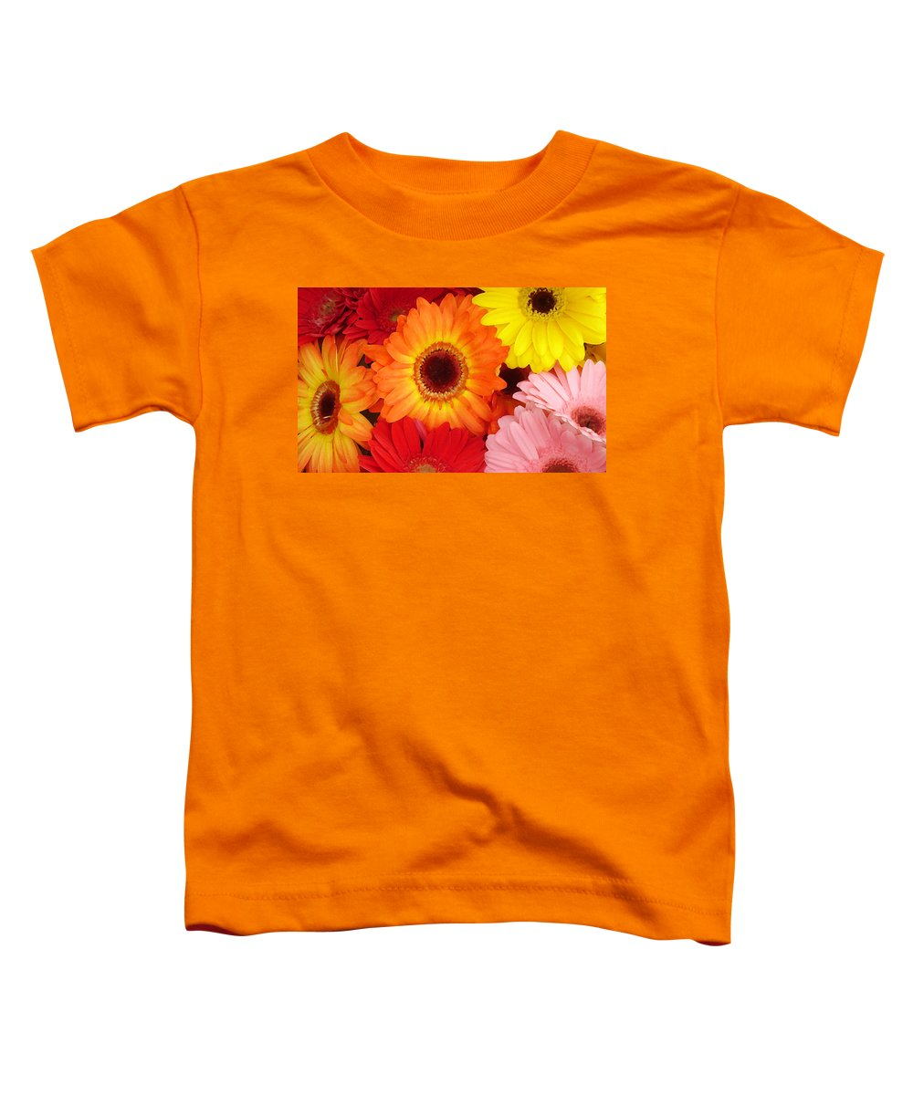 Gerber Daisy Toddler T-Shirt featuring the painting Colorful Gerber Daisies by Amy Vangsgard