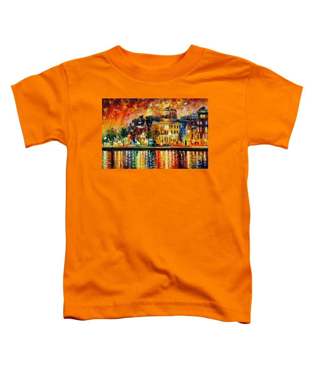 City Toddler T-Shirt featuring the painting Copenhagen Original Oil Painting by Leonid Afremov