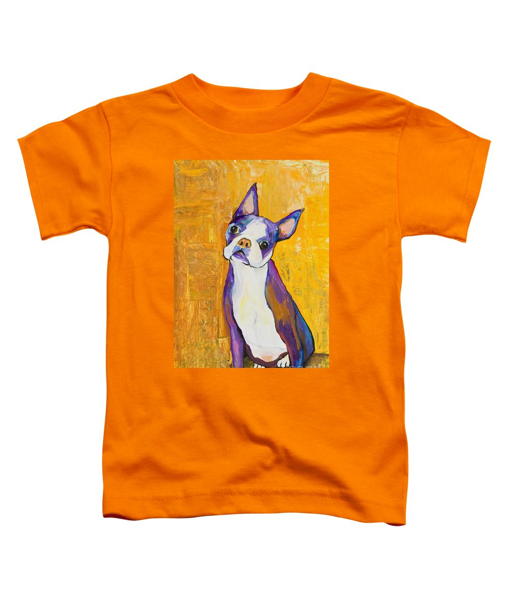 Boston Terrier Animals Acrylic Dog Portraits Pet Portraits Animal Portraits Pat Saunders-white Toddler T-Shirt featuring the painting Cosmo by Pat Saunders-White