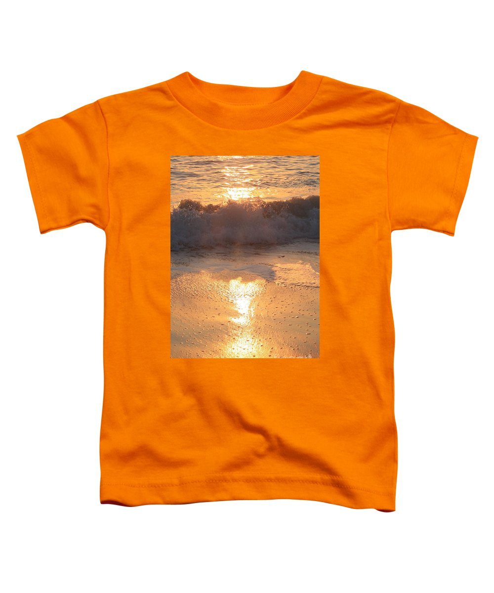 Waves Toddler T-Shirt featuring the photograph Crashing Wave At Sunrise by Nadine Rippelmeyer