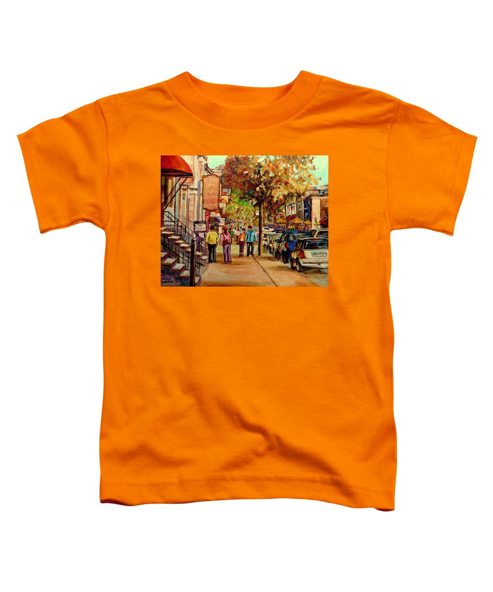 Montreal Streetscenes Toddler T-Shirt featuring the painting Crescent Street Montreal by Carole Spandau