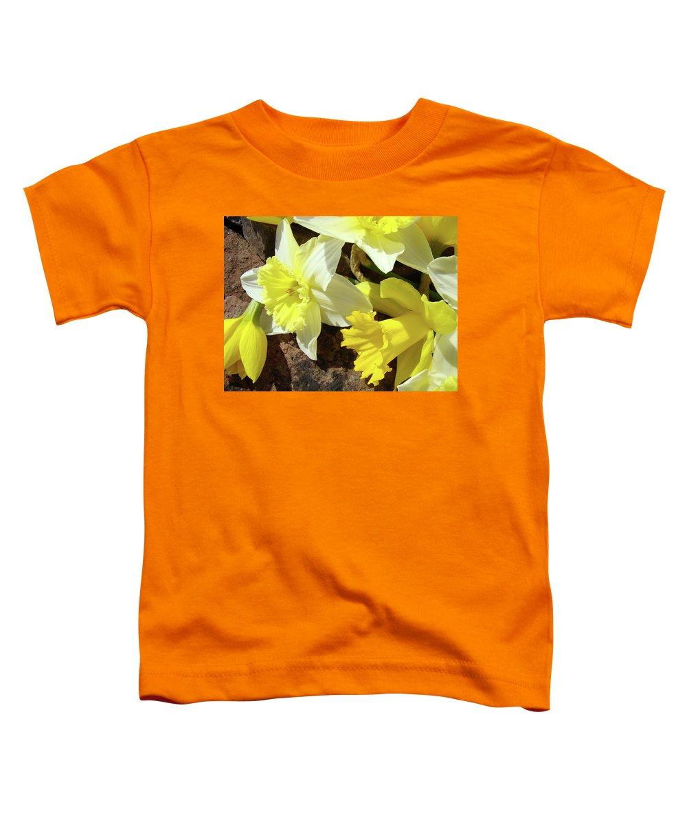 �daffodils Artwork� Toddler T-Shirt featuring the photograph Daffodils Flower Bouquet Rustic Rock Art Daffodil Flowers Artwork Spring Floral Art by Baslee Troutman