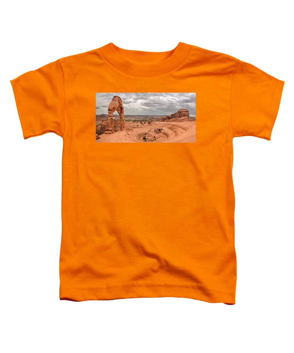 3scape Photos Toddler T-Shirt featuring the photograph Delicate Arch Panoramic by Adam Romanowicz