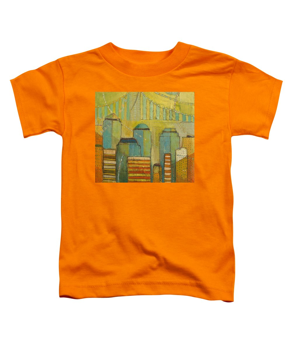 Toddler T-Shirt featuring the painting Downtown Manhattan by Habib Ayat