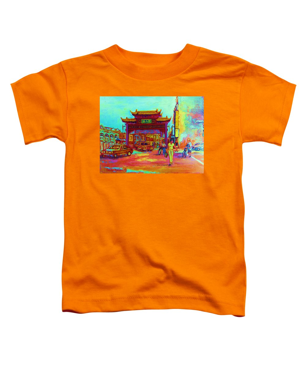 Montreal Toddler T-Shirt featuring the painting Entrance To Chinatown by Carole Spandau