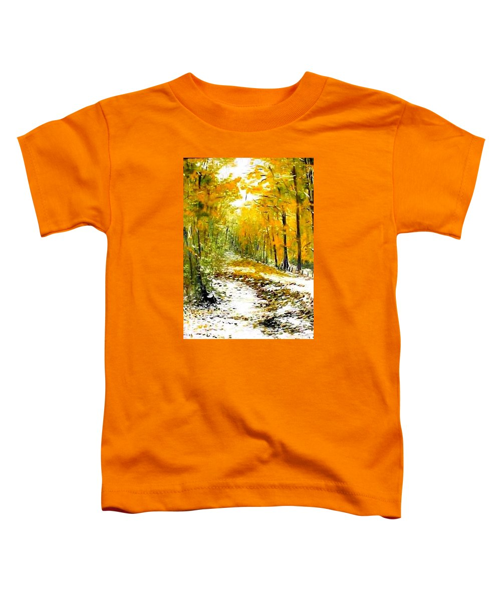 Landscape Toddler T-Shirt featuring the painting First Snow by Boris Garibyan