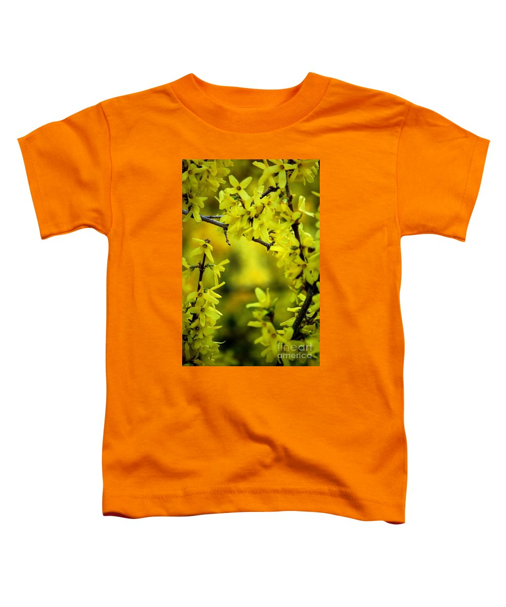 Spring Toddler T-Shirt featuring the photograph Forsythia At The Hacienda by David Lane