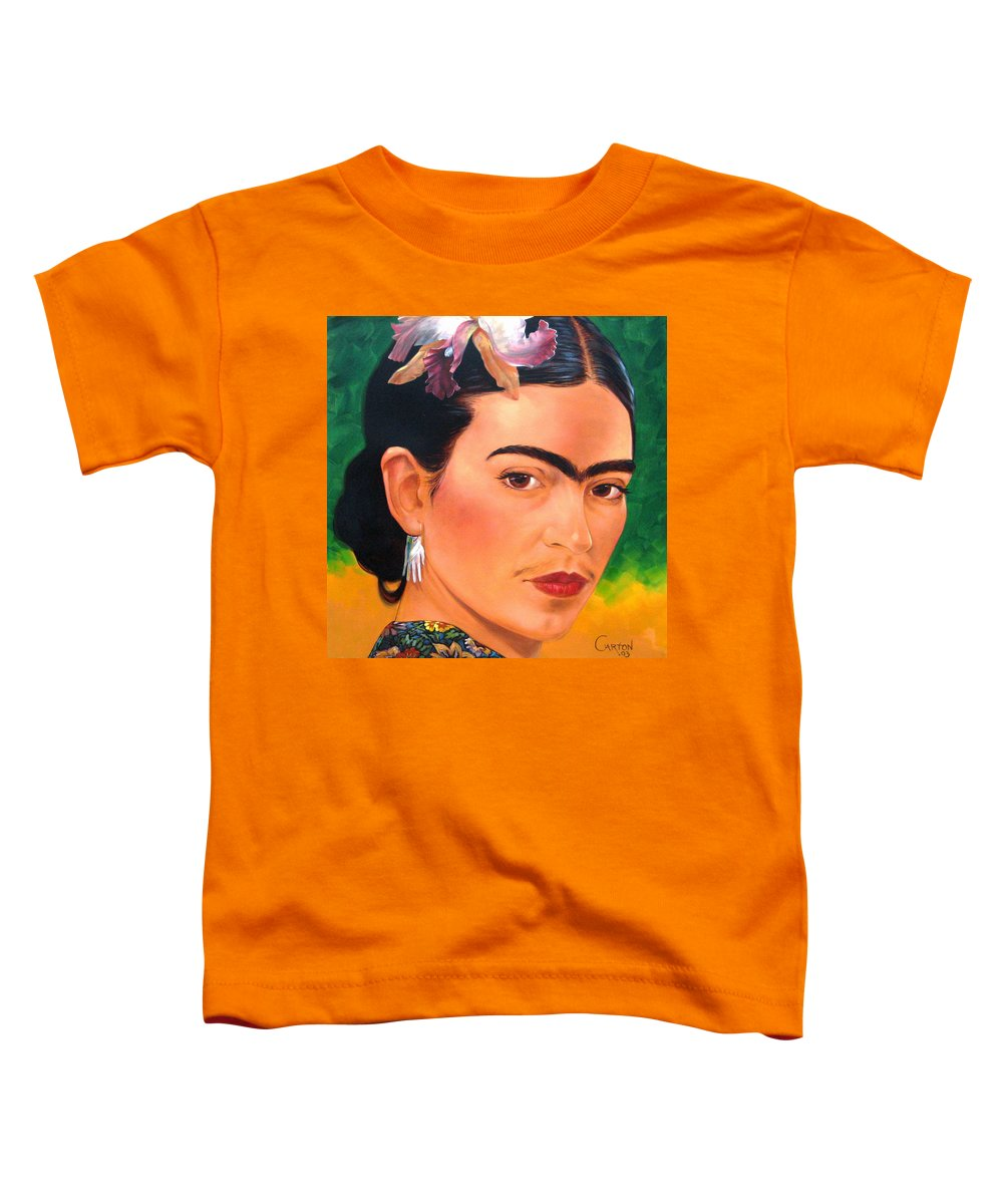 Frida Kahlo Toddler T-Shirt featuring the painting Frida Kahlo 2003 by Jerrold Carton