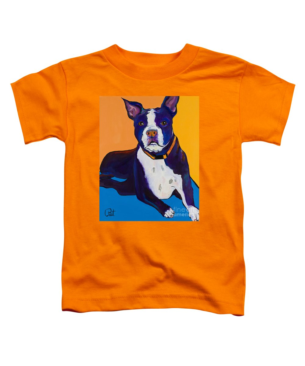 Boston Terrier Toddler T-Shirt featuring the painting Georgie by Pat Saunders-White