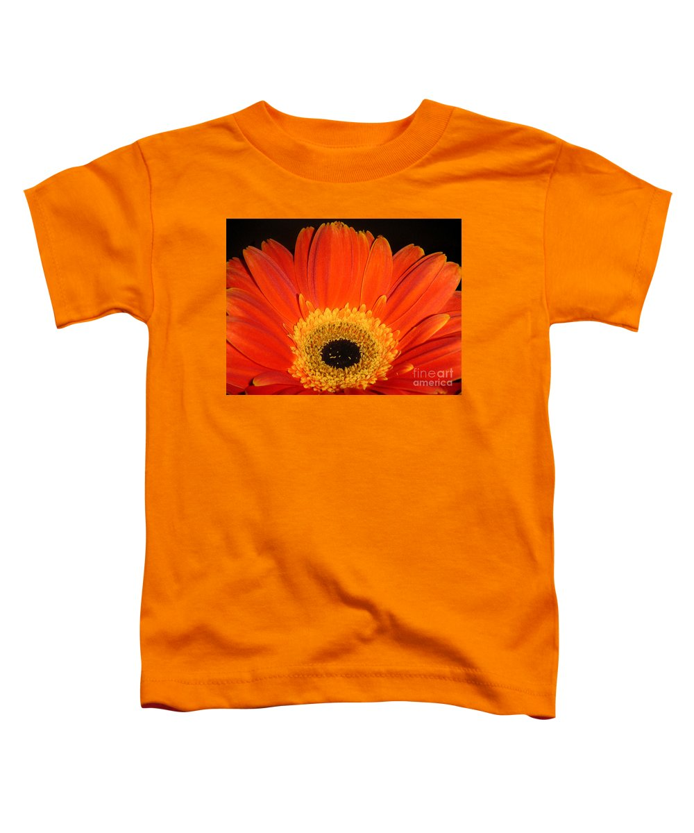 Nature Toddler T-Shirt featuring the photograph Gerbera Daisy - Glowing In The Dark by Lucyna A M Green