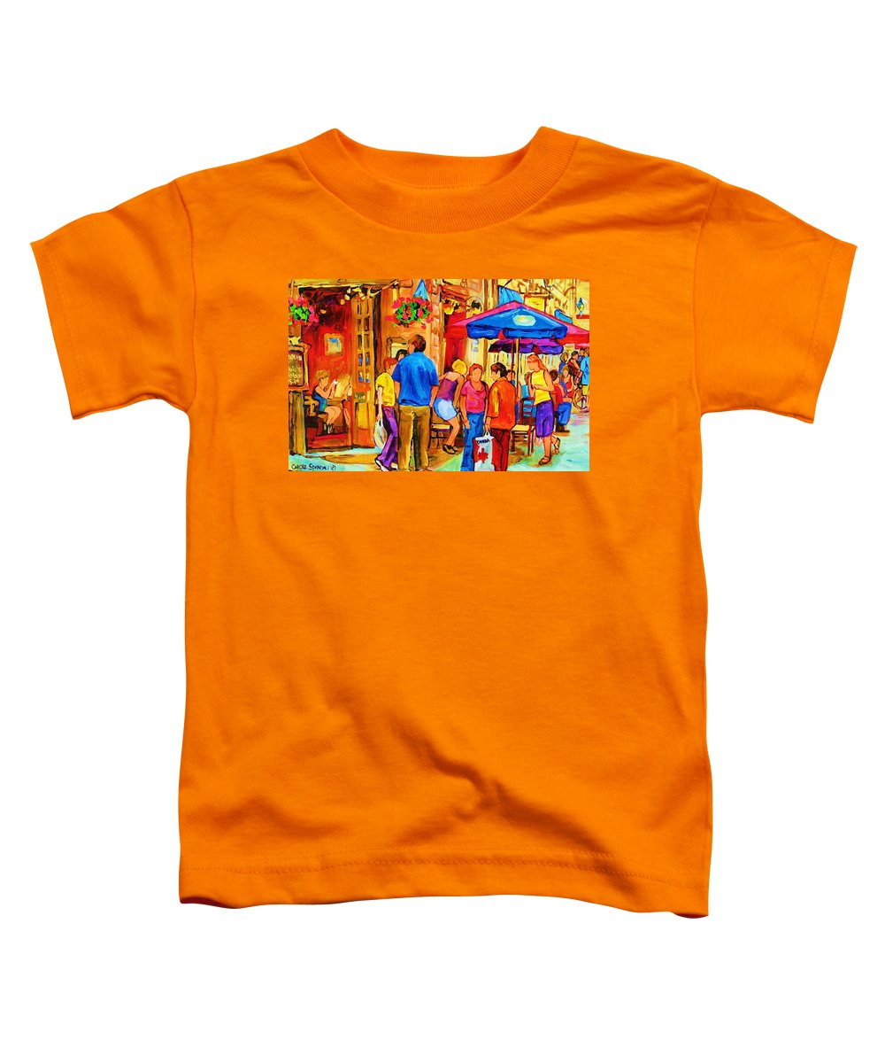 Montreal Cafe Scenes Toddler T-Shirt featuring the painting Girl In The Cafe by Carole Spandau