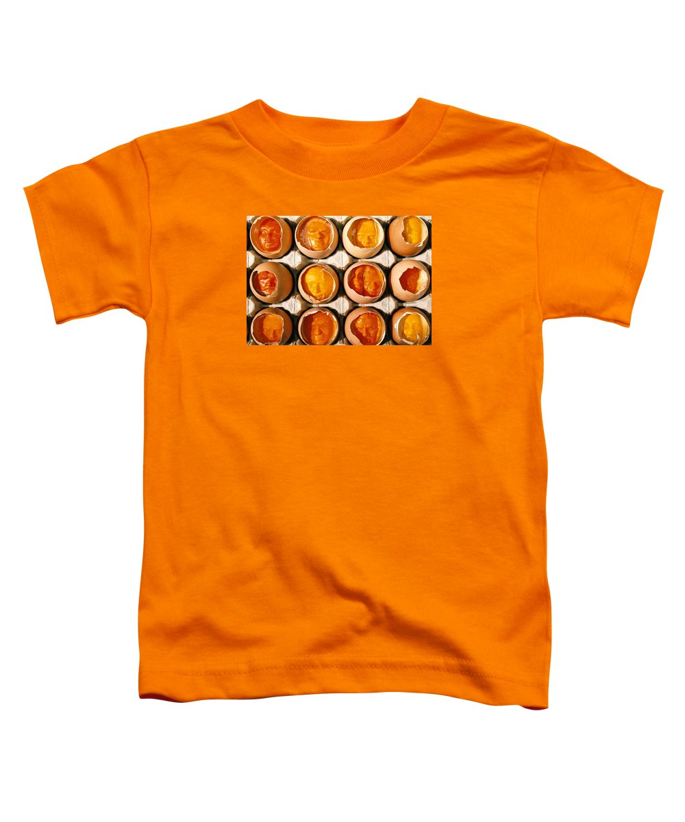 Eggs Toddler T-Shirt featuring the sculpture Golden Eggs by Mark Cawood