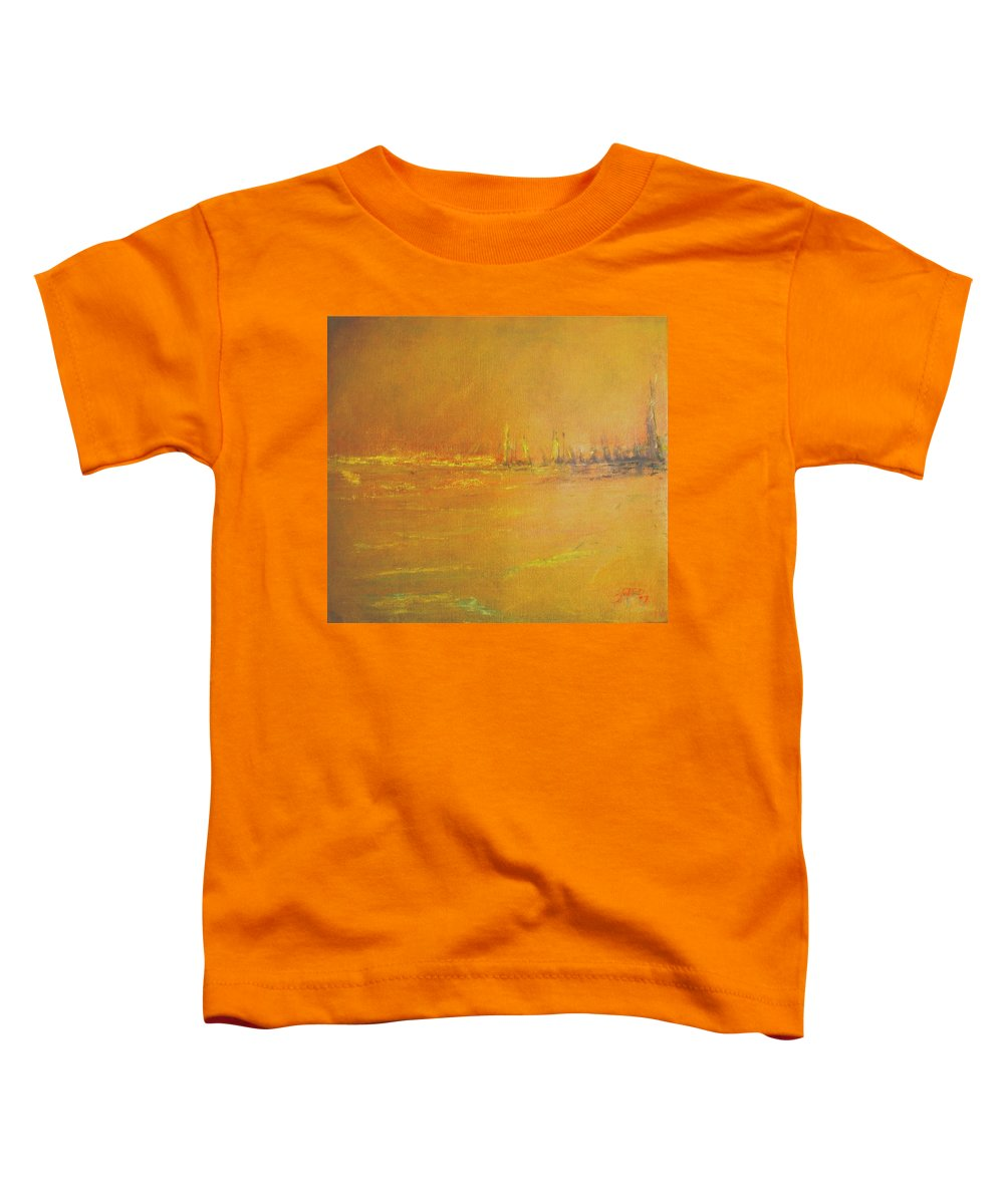 Ships Toddler T-Shirt featuring the painting Golden Sky by Jack Diamond