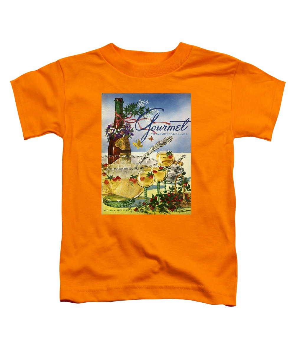 Illustration Toddler T-Shirt featuring the photograph Gourmet Cover Featuring A Bowl And Glasses by Henry Stahlhut