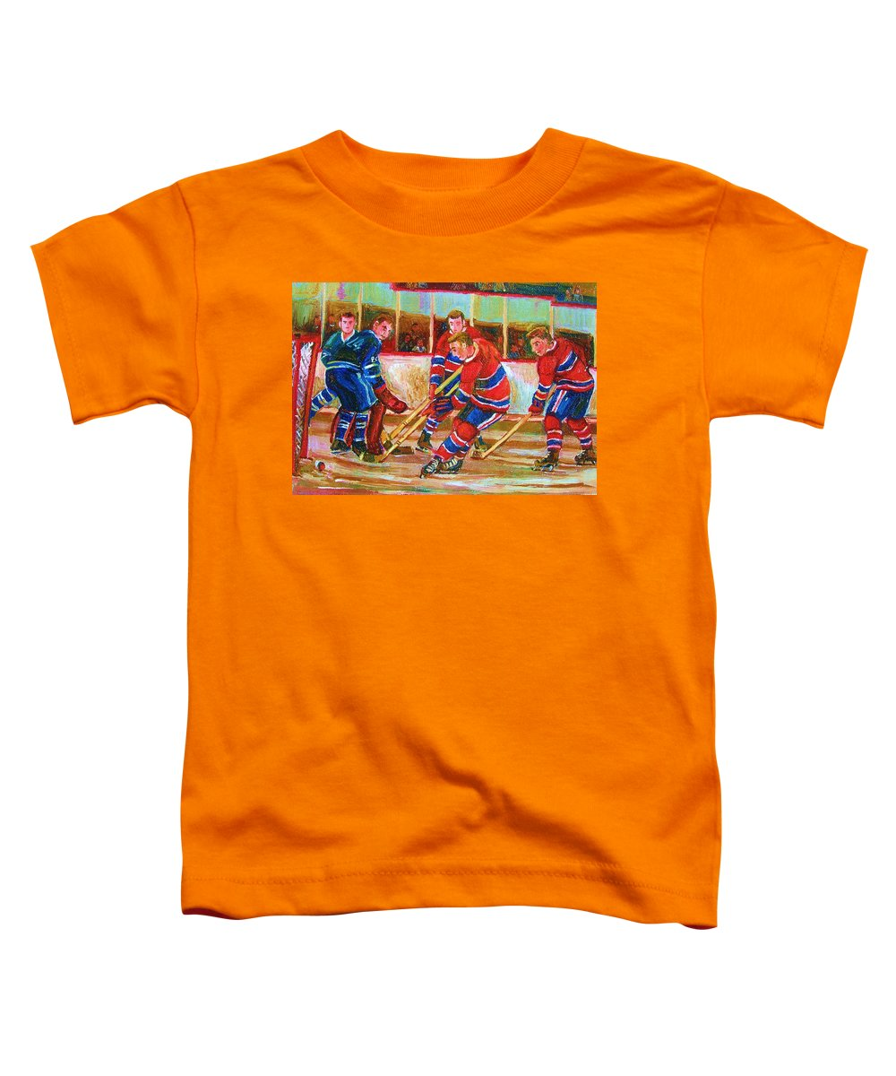 Hockey Toddler T-Shirt featuring the painting He Shoots  He Scores by Carole Spandau