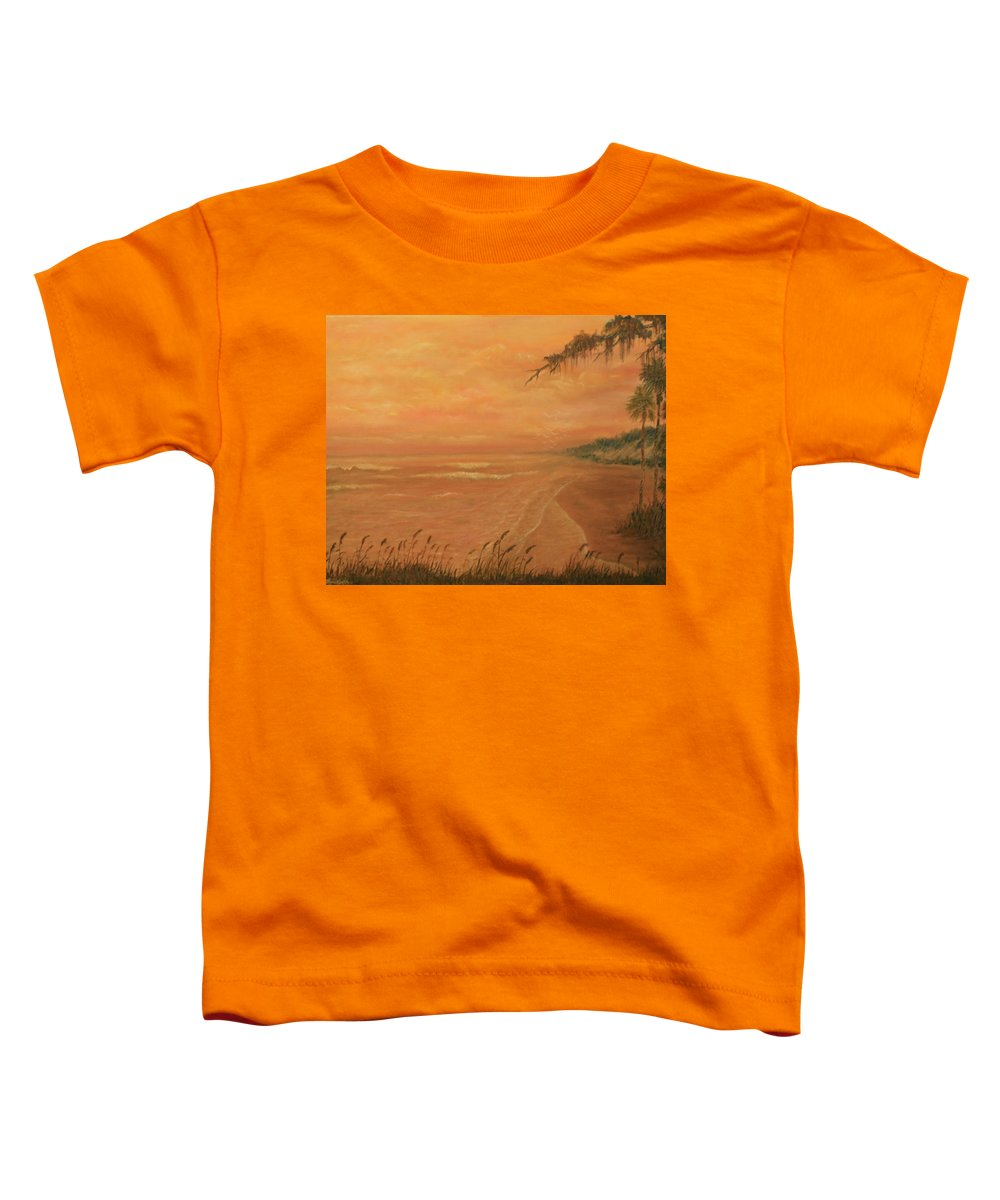 Beach; Ocean; Palm Trees; Water Toddler T-Shirt featuring the painting High Tide by Ben Kiger