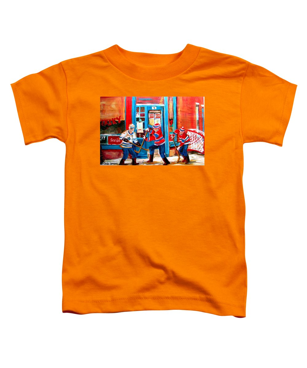 Wilenskys Toddler T-Shirt featuring the painting Hockey Sticks In Action by Carole Spandau