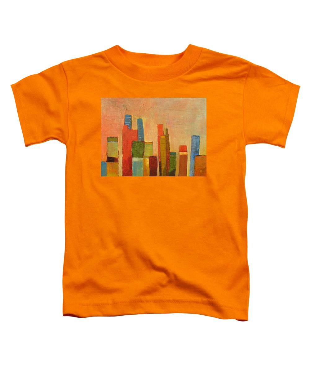 Abstract Cityscape Toddler T-Shirt featuring the painting Hot Manhattan by Habib Ayat
