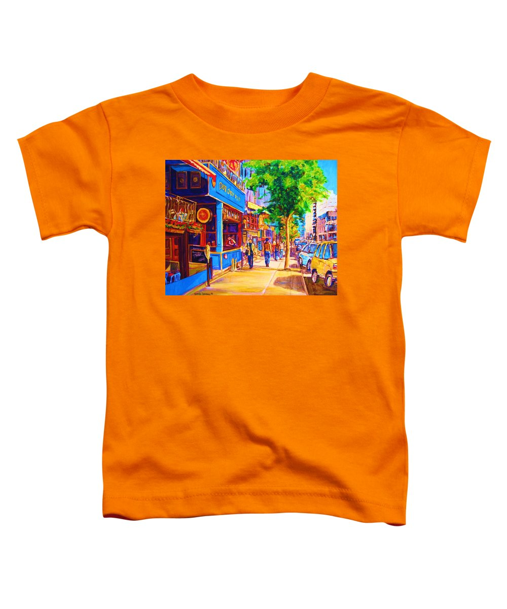 Irish Pub On Crescent Street Montreal Street Scenes Toddler T-Shirt featuring the painting Irish Pub On Crescent Street by Carole Spandau