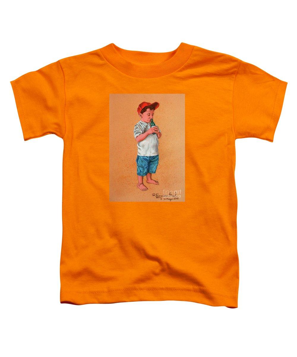 Summer Toddler T-Shirt featuring the painting It's A Hot Day - Es Un Dia Caliente by Rezzan Erguvan-Onal