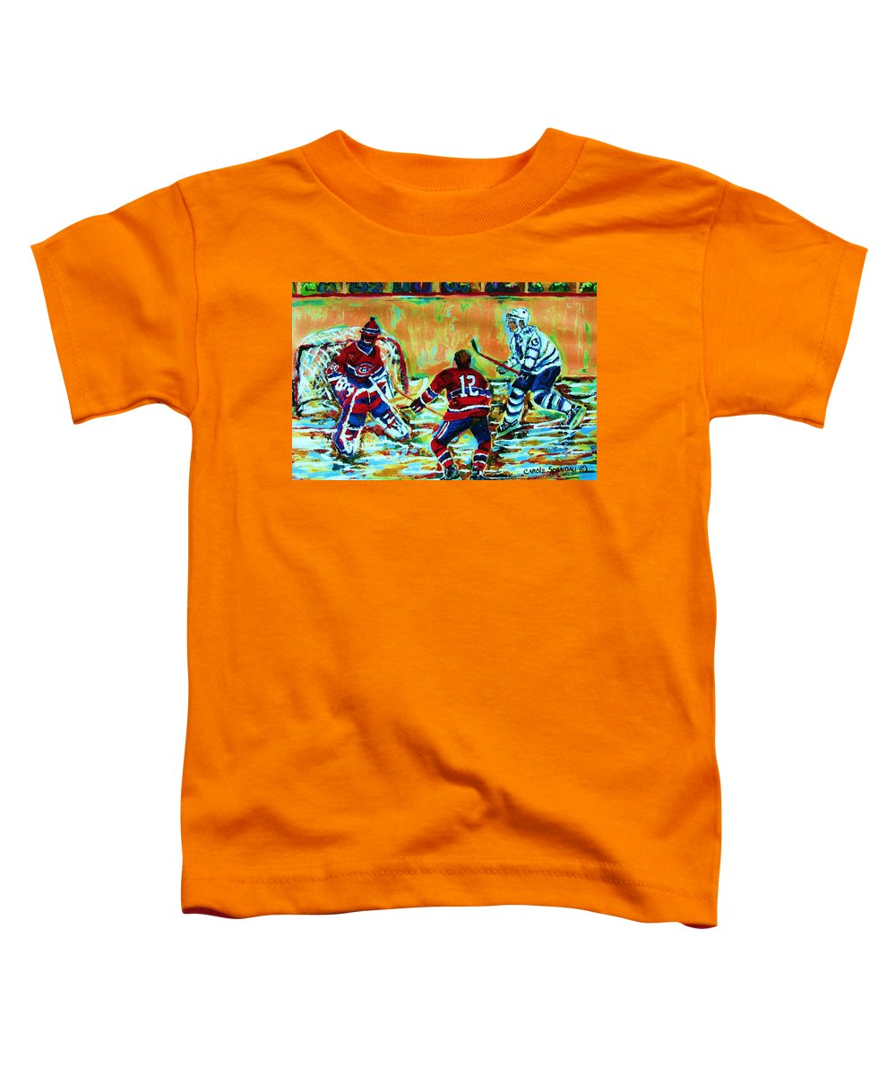 Hockey Canvas Prints Toddler T-Shirt featuring the painting Jose Theodore The Goalkeeper by Carole Spandau