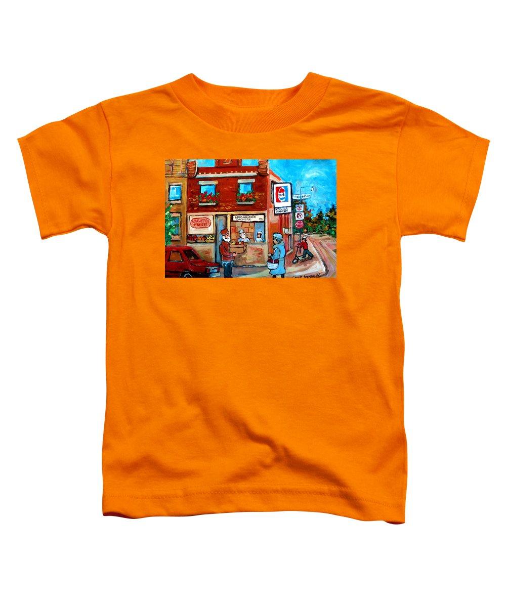 Kosher Bakery Toddler T-Shirt featuring the painting Kosher Bakery On Hutchison Street by Carole Spandau