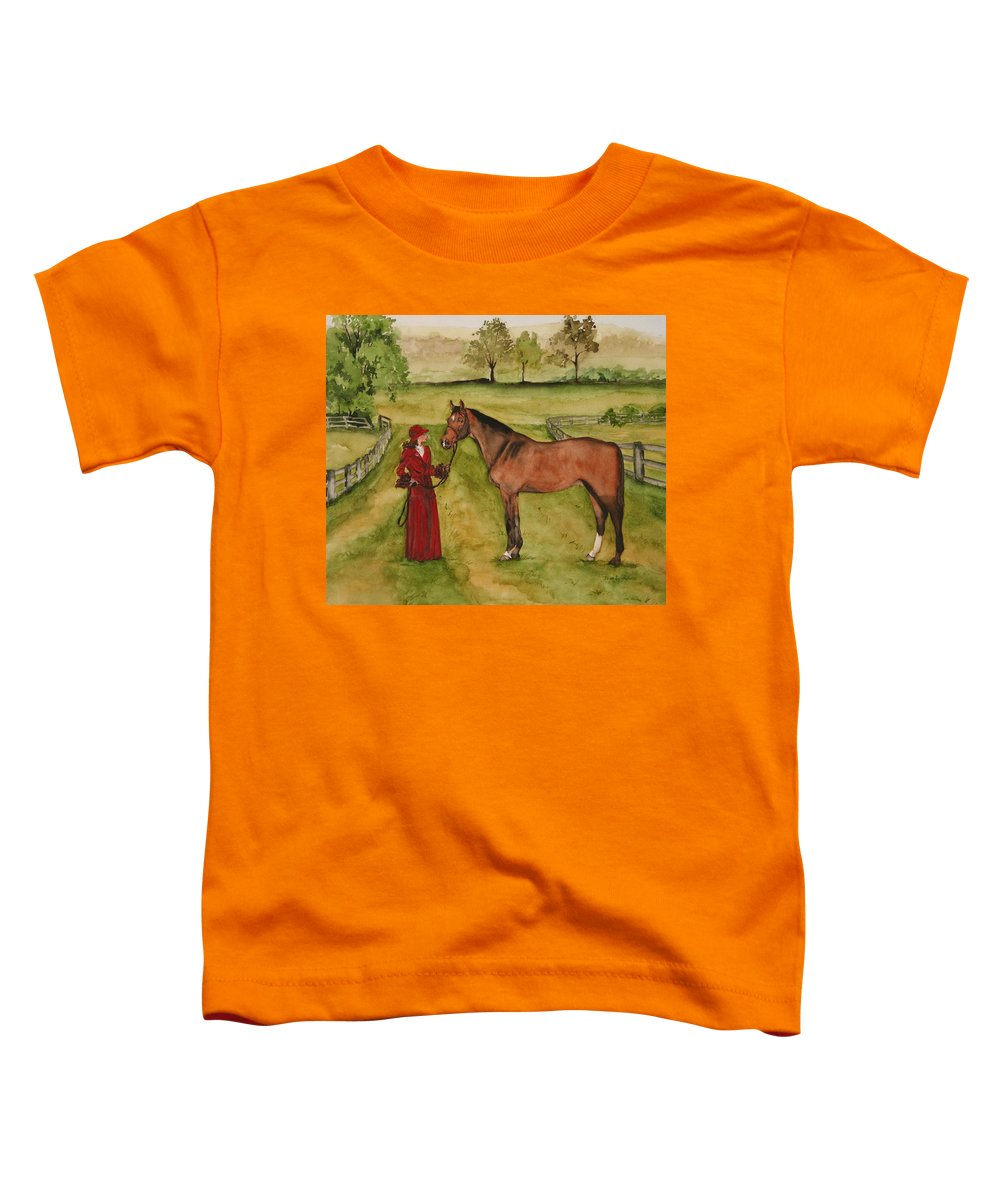 Horse Toddler T-Shirt featuring the painting Lady And Horse by Jean Blackmer