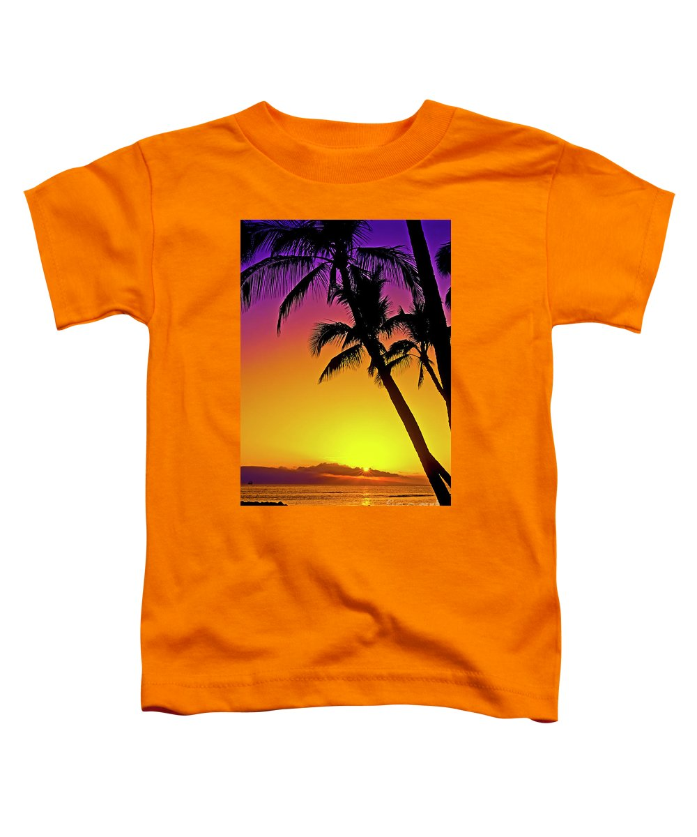 Sunset Toddler T-Shirt featuring the photograph Lanai Sunset II Maui Hawaii by Jim Cazel