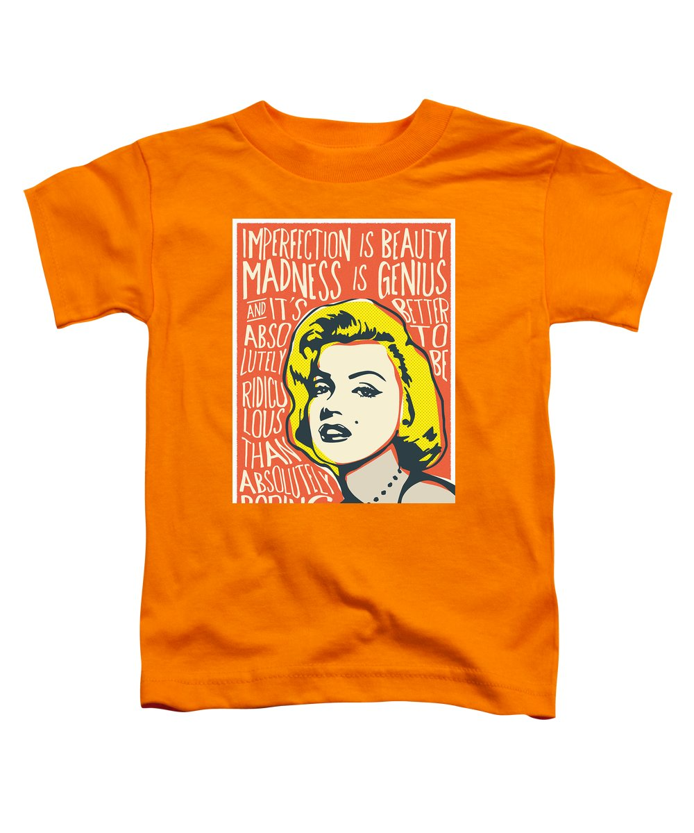 Marilyn Monroe Toddler T-Shirt featuring the digital art Marilyn Monroe Pop Art Quote by BONB Creative
