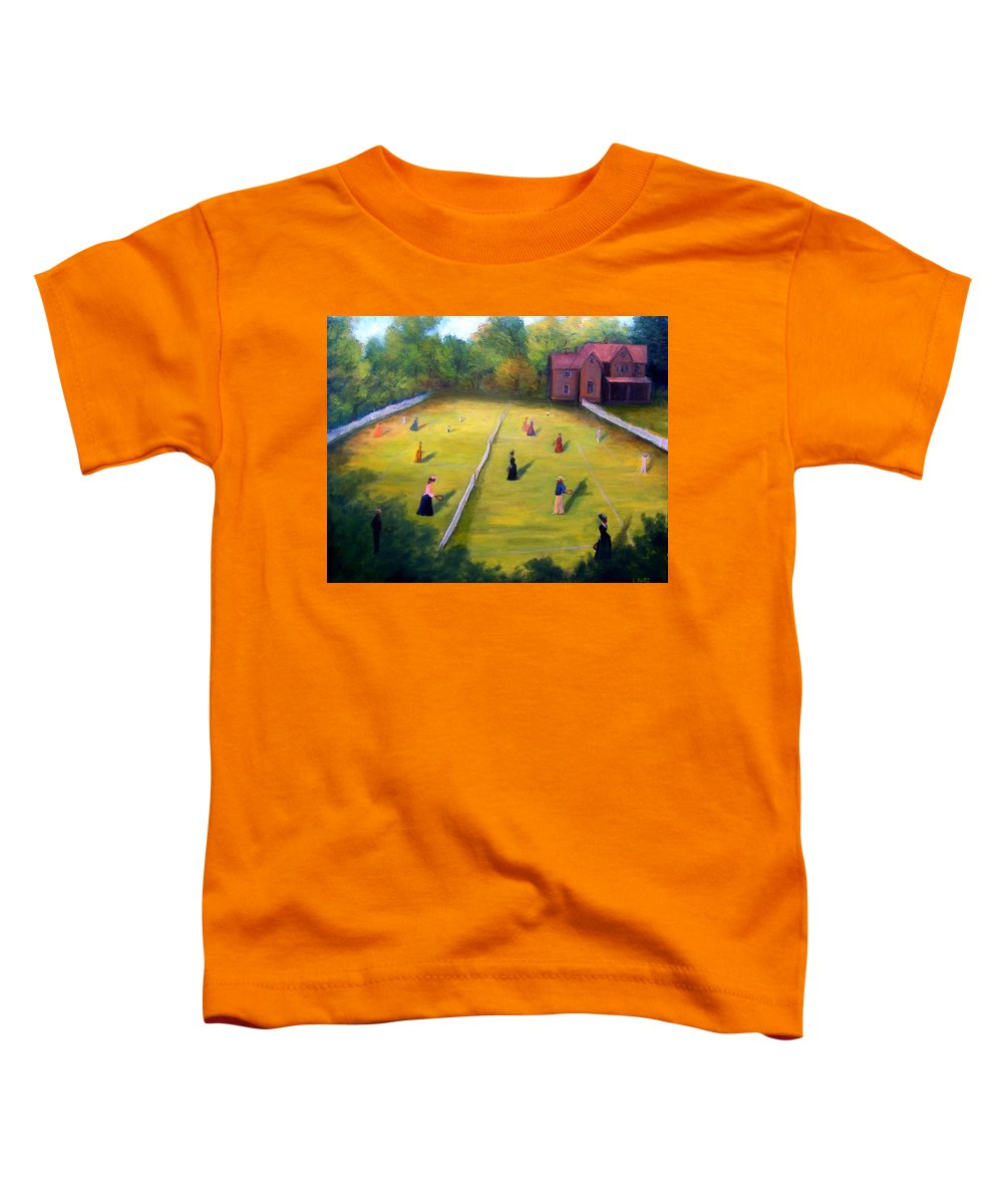 Tennis Art Toddler T-Shirt featuring the painting Mixed Doubles by Gail Kirtz