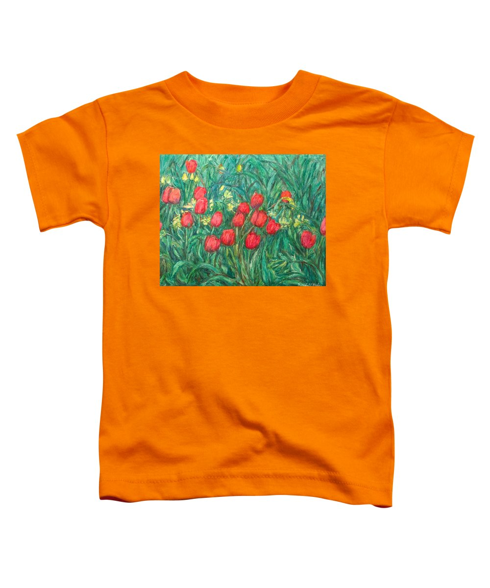 Kendall Kessler Toddler T-Shirt featuring the painting Mostly Tulips by Kendall Kessler