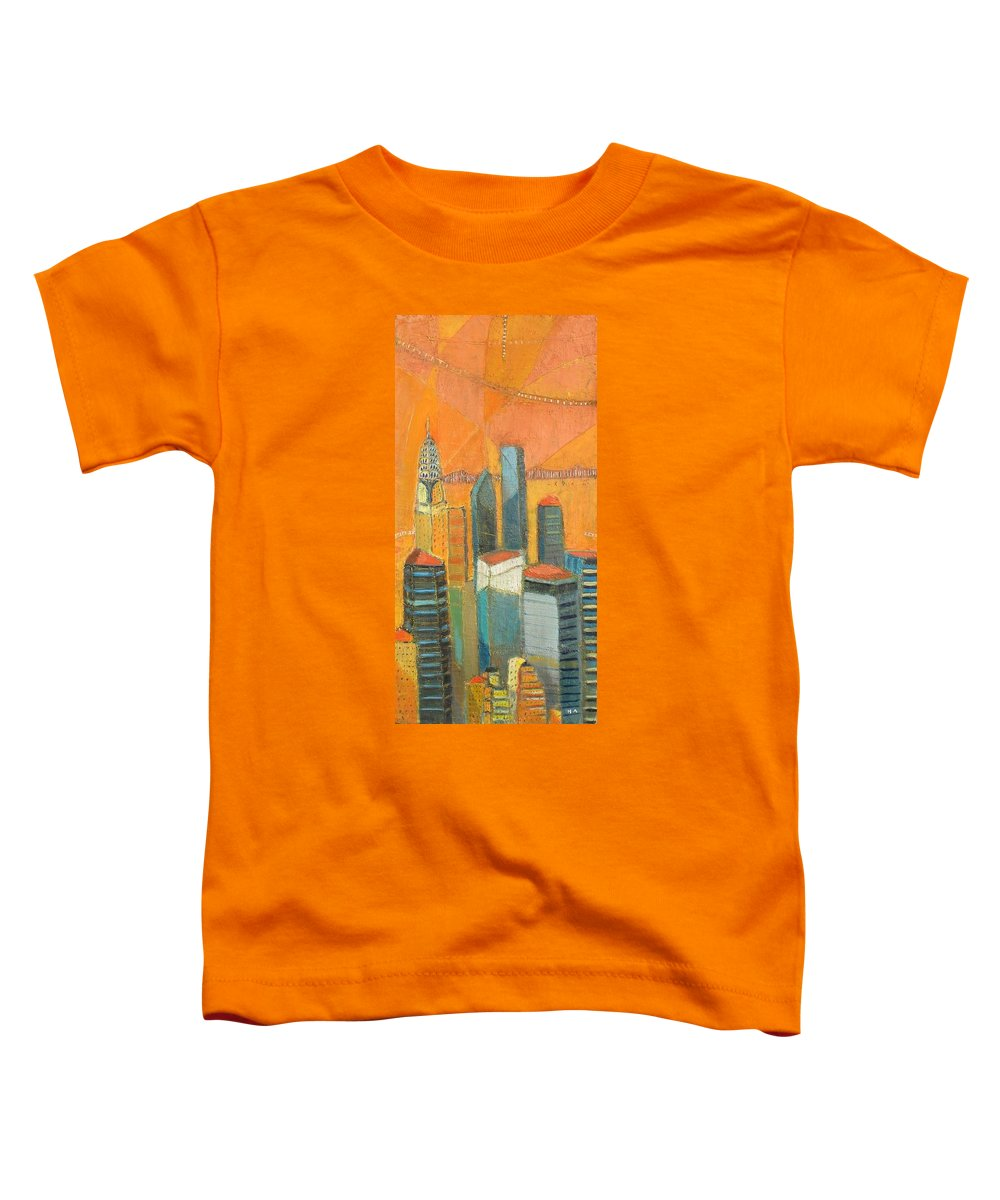 Toddler T-Shirt featuring the painting Nyc In Orange by Habib Ayat
