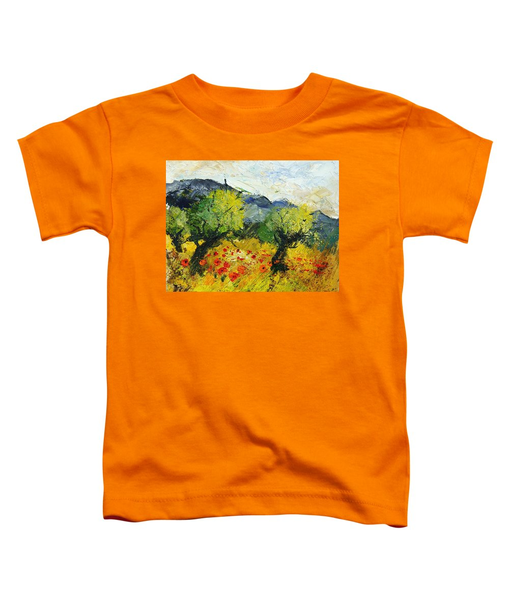 Flowers Toddler T-Shirt featuring the painting Olive Trees And Poppies by Pol Ledent