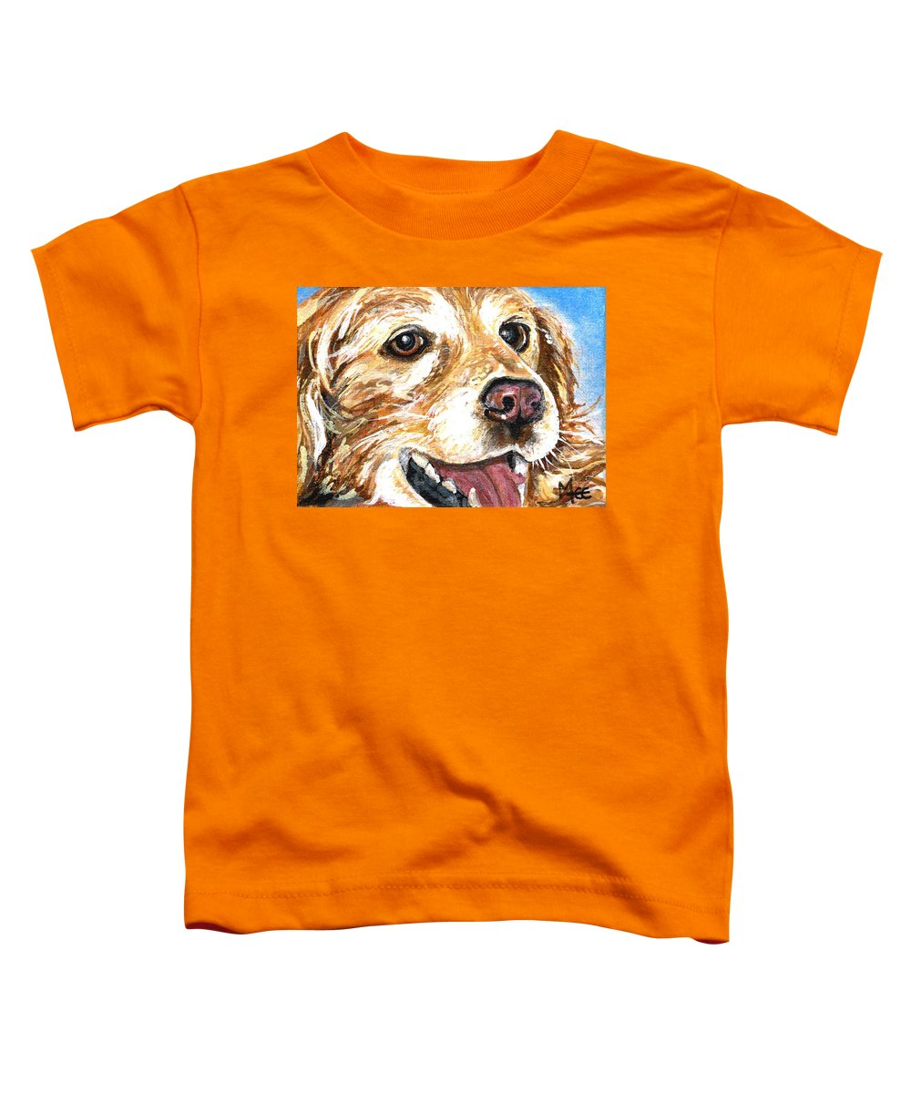 Charity Toddler T-Shirt featuring the painting Oliver From Muttville by Mary-Lee Sanders