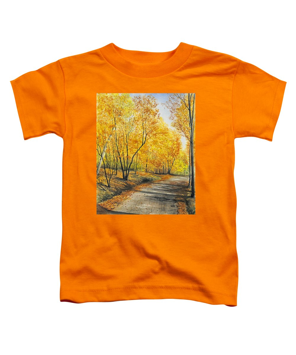 Autumn Toddler T-Shirt featuring the painting On Golden Road by Mary Tuomi