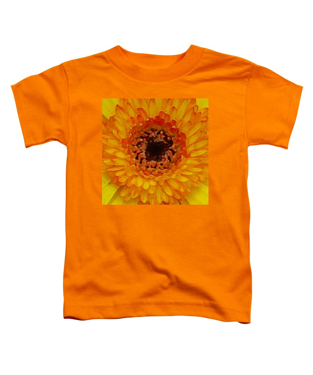 Daisy Toddler T-Shirt featuring the painting Orange And Black Gerber Center by Amy Vangsgard