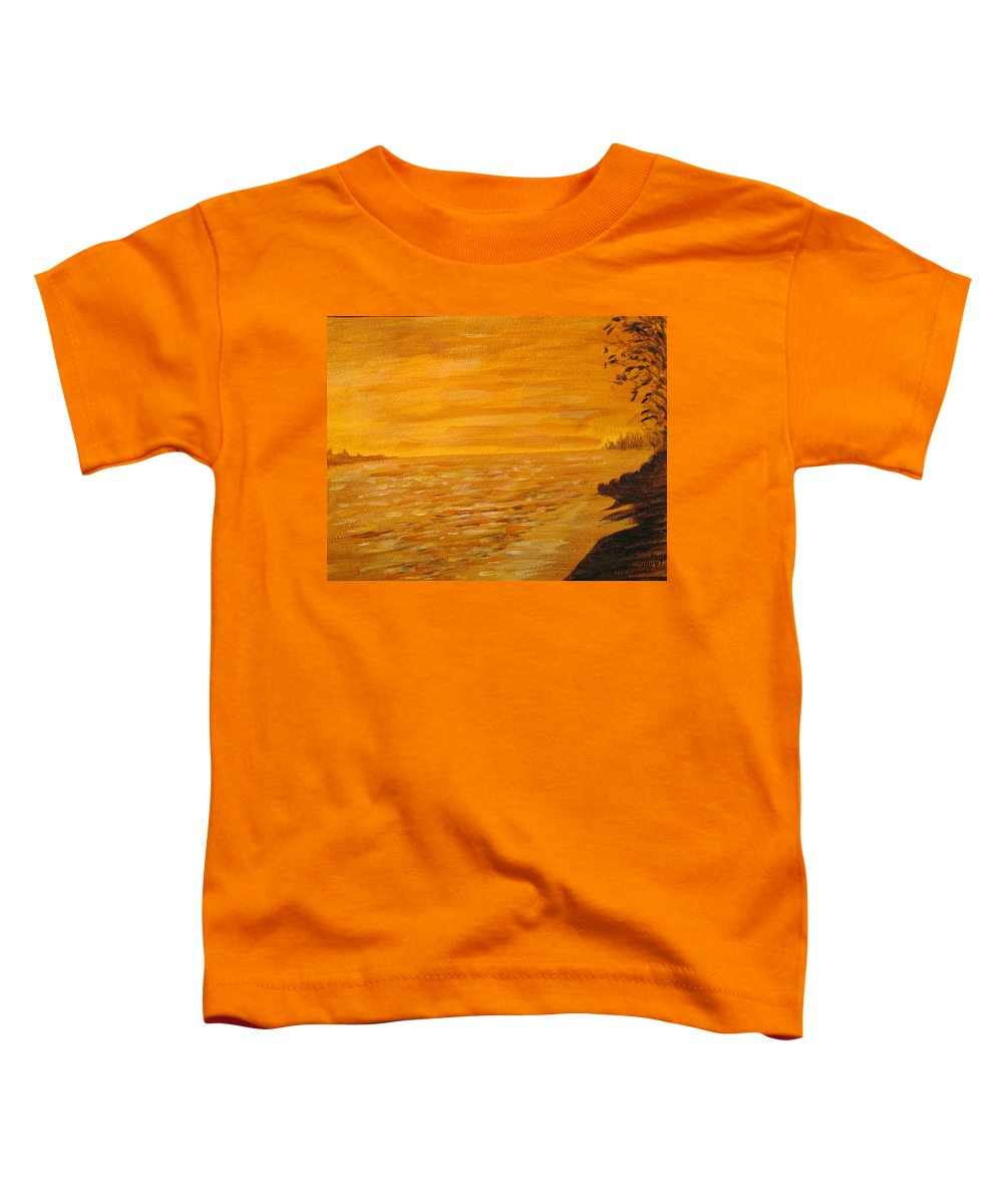 Ocean Toddler T-Shirt featuring the painting Orange Beach by Ian MacDonald