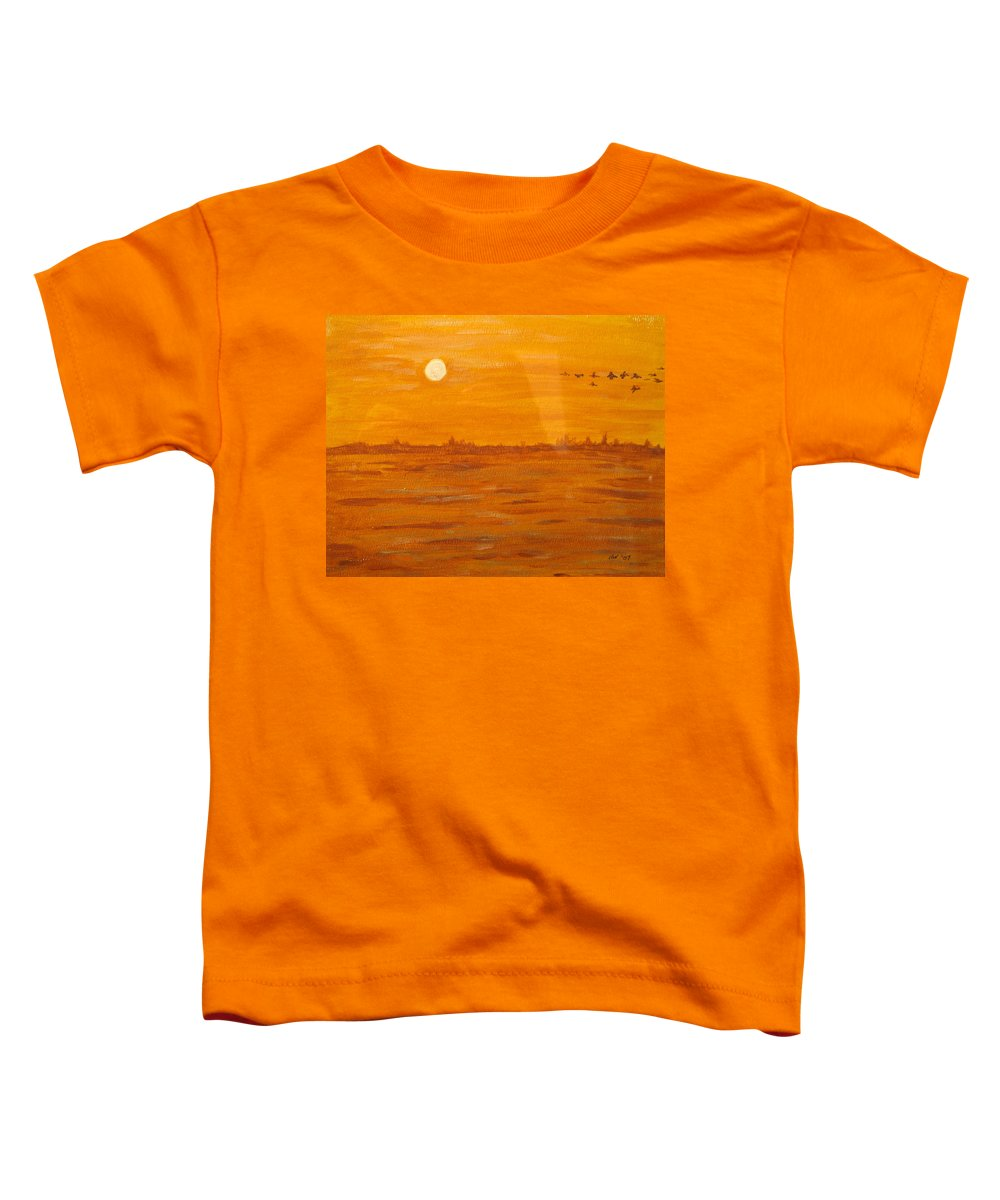 Orange Toddler T-Shirt featuring the painting Orange Ocean by Ian MacDonald
