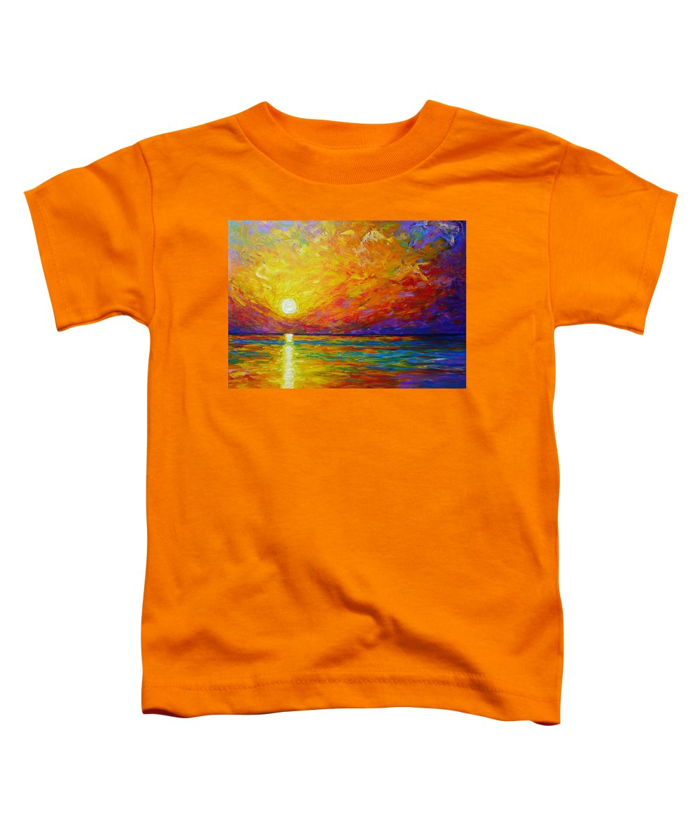Landscape Toddler T-Shirt featuring the painting Orange Sunset by Ericka Herazo